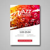 Fototapety Vector musical flyer Jazz festival. Music background festival brochure flyer template