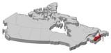 Map - Canada, Nova Scotia - 3D-Illustration