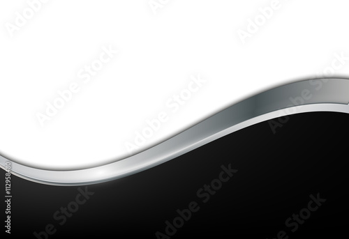 Black and white metal background. Abstract vector background with wave