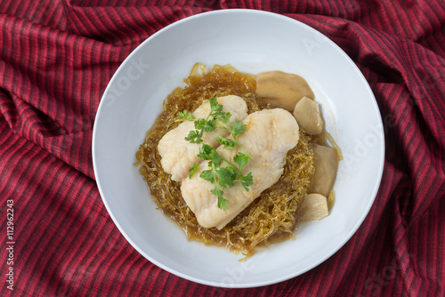 Poster Food series : Steamed pangasius dory fillet with seaweed noodle