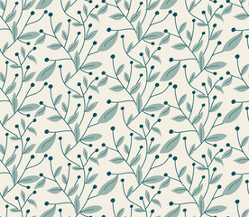 Vector seamless pattern. Modern stylish hand drawn floral texture with structure of repeating tree branches with leaves and berries.