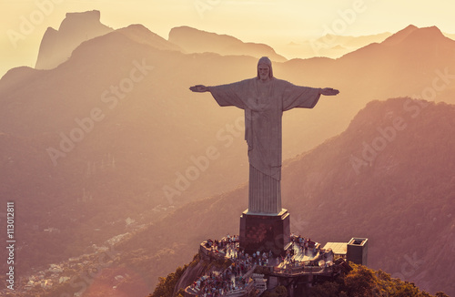 Aerial view of Corcovado Hill from high angle, Rio De Janeiro