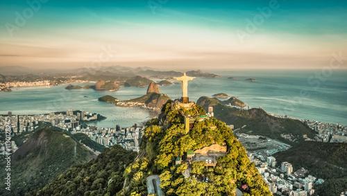 Fotobehang Rio de Janeiro Aerial view of Botafogo Bay from high angle, Rio De Janeiro