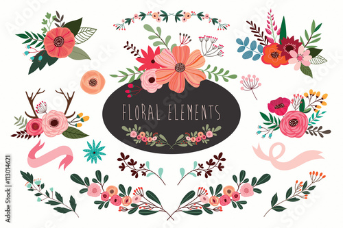 Hand drawn vector floral set with branches and flowers bouquets.