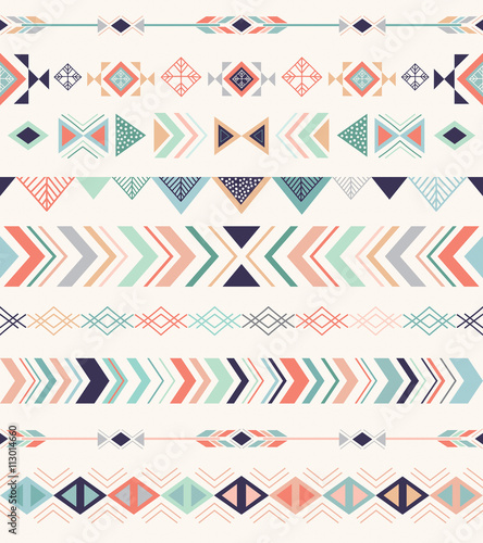 Aztec pattern. Seamless pattern with geometric elements. - 113014660