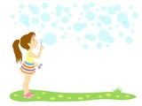 Фон для текста с изображением маленькой девочки пускающей мыльные пузыри.