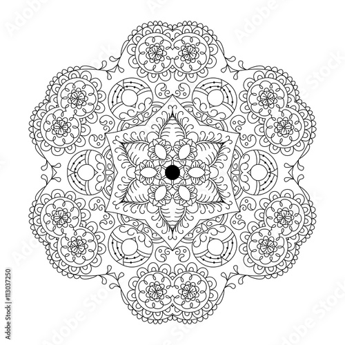 Abstract round ornament. Mandala. Abstract background. Design for coloring page
