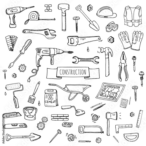 Papiers peints Cartoon draw Hand drawn doodle Construction tools set Vector illustration building icons House repair icons concept collection Modern sketch style labels of house remodel gear elements and symbols Home repair tool