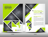 Green Annual report template business brochure flyer template in