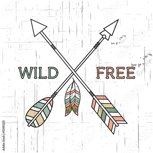 vector-grunge-illustration-with-crossed-ethnic-arrows-feathers-and-tribal-ornament-boho-and-hippie-style-american-indian-motifs-wild-and-free-poster