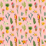 Toucan Parrot. Tropical Flowers Background. Retro Seamless Pattern - 113054863