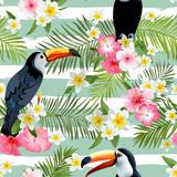Toucan Bird Background. Retro Pattern. Tropical Background.  - 113055490
