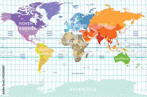 Fototapeta political map of the world with all continents separated by color, labeled countries and oceans, and with enumerated longitudes and latitudes on background