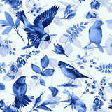 Seamless pattern with flowers, leaves, and birds. Watercolor flowers and birds. Vintage. Can be used for gift wrapping paper and other backgrounds. Monochrome blue color. - 113072046