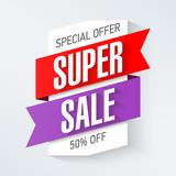 Special Offer Super Sale banner design template. Big super sale, save up to 50%.