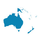 Map of Oceania on a white background. Flat vector - 113098430