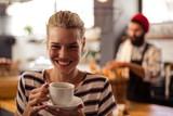 Customer drinking a coffee