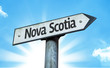 Nova Scotia direction sign in a concept image