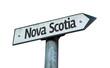 Nova Scotia direction sign isolated on white background