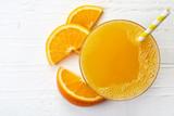 Glass of fresh orange juice - 113113845