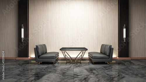 Living room modern style wood mix marble 3d rendering Non brand,sketches.All completely new design