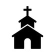 Christian church / chapel with cross flat icon for apps and websites