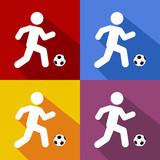 Icono plano futbolista con sombra en varios colores
