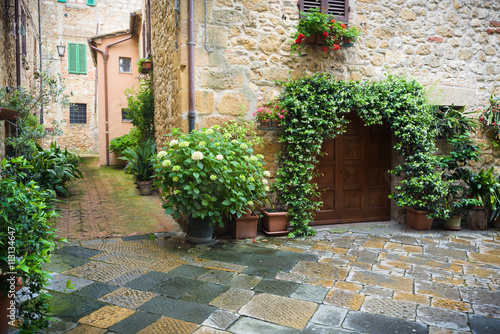 Flowery streets on a rainy spring day in a small magical village