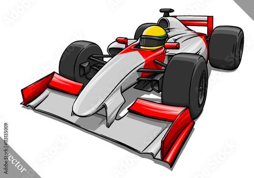Poster funny fast cartoon formula race car vector illustration art