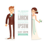 Wedding couple groom and bride on white background, Wedding invitation