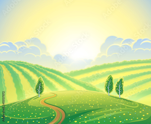 Papiers peints Jaune de seuffre Summer rural landscape with hills and road. Sunrise over the hills that morning.