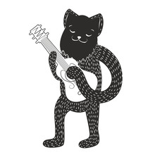 Vector illustration with cat playing guitar.