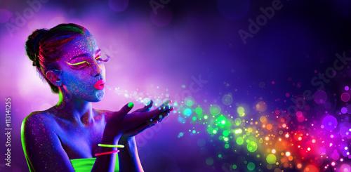 Neon Model Blowing Spectrum Lights - Disco Paint Makeup