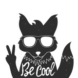 Vector illustration with stylish fox in sunglasses showing a peace sign. - 113150006