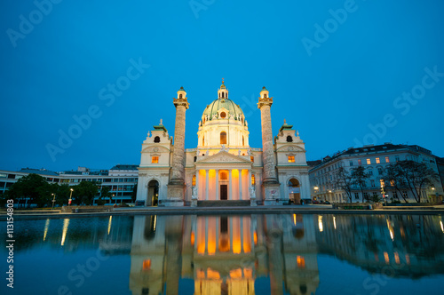 Poster  View of famous Saint Charles's Cathedral in Vienna, Austria