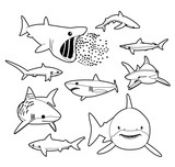Various Sharks Cartoon Vector Illustration Monochrome