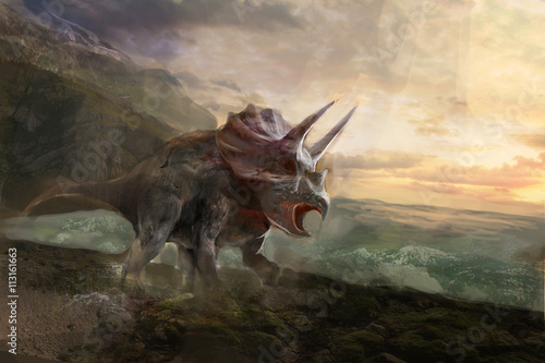 Billede triceratops, the dinosaurs and sea behind