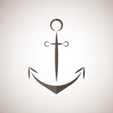 Nautical anchor / two colors anchor icon/ anchor vector  bruwn