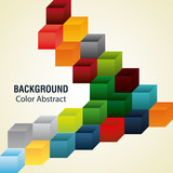 Multicolored cubes with abstract shapes, vector illustration