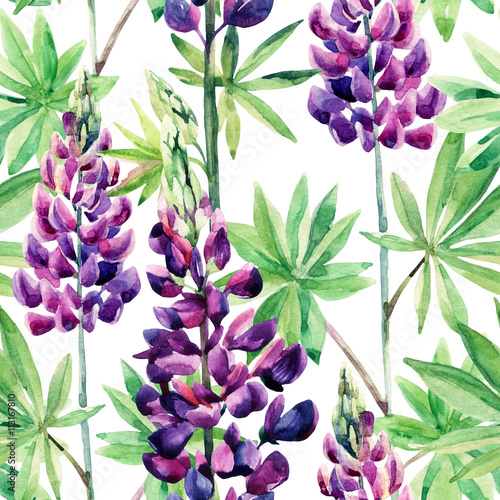 Cotton fabric Flowers seamless pattern with watercolor lupines