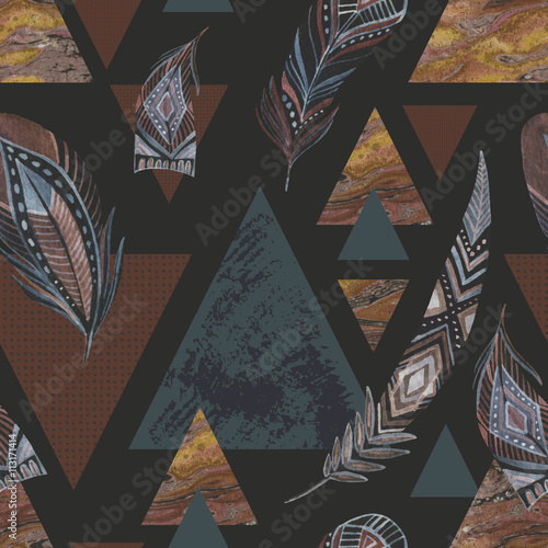 Abstract grunge geometric seamless pattern. - 113171414
