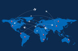 World travel map with airplanes. Vector illustration.