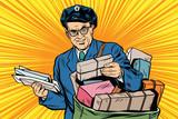 Cheerful retro oldster postman pop art