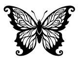 vector illustration, decorative black and white butterfly design