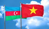 Azerbaijan flag with Vietnam flag, 3D rendering