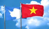 antarctica flag with Vietnam flag, 3D rendering