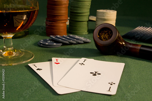 Poster Poker concept with cards on green table