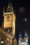 Old town hall tower and Tyn church in Prague at night