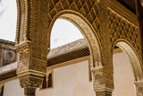 Alhambra de Granada, architecture details from the Alhambra Palace, Granada City, Andalusia, Spain.