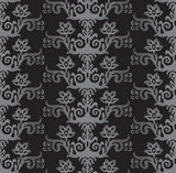 Seamless silver and charcoal victorian style floral wallpaper